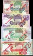 London Coins : A153 : Lot 412 : Seychelles (4) SPECIMENS No.0301, 10 rupees, 25 rupees, 50 rupees & 100 rupees, all issued 1989 ...