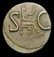 London Coins : A154 : Lot 1500 : Ae as.  Divus Augustus. Died AD 14. Rome mint. Struck under Tiberius.  C, 15-16 AD.  Rev; SC, Female...