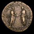 London Coins : A154 : Lot 1508 : Ae sestertius.  Lucius Verus.  C, 161-169 AD.  Rome.  Rev; Lucius Verus and Marcus Aurelius, both to...