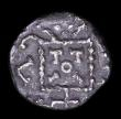 London Coins : A154 : Lot 1524 : Ar sceat.  Anglo Saxon.   Primary Sceattas. C, 680-700.  Series A, variety 2. Mint in Kent.  Obv; Ra...