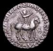 London Coins : A154 : Lot 1540 : Indo-Scythian Tetradrachm Azes II Obverse: King on horseback to right, holding whip, Reverse Zeus ri...
