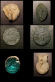 London Coins : A154 : Lot 1543 : Mixed bag of artefacts including a Medieval bronze vessica seal and a lead ampulla.  Six items in to...