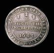 London Coins : A154 : Lot 1604 : Half Pound Charles I 1643 Oxford Mint, Shrewsbury horseman trampling on arms, Reverse three Oxford P...