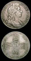 London Coins : A154 : Lot 2253 : Halfcrowns (2) 1697 First Bust. Large Shields ESC 541 Good Fine with a light adjustment line by the ...