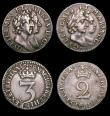 London Coins : A154 : Lot 2314 : Maundy a part set 1689 Fourpence 1689 GV below bust, unbarred A in REGINA, as ESC 1865 VF, Threepenc...