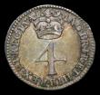 London Coins : A154 : Lot 2315 : Maundy Fourpence 1689 I over E in GVLIELMVS ESC 1868A About VF, rated R3 by ESC