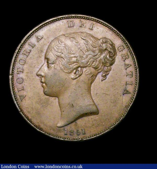 Penny 1851 DEF Close Colon Peck 1499 NEF/GVF : English Coins : Auction 154 : Lot 2411
