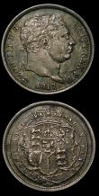 London Coins : A154 : Lot 2649 : Shillings (2) 1817 ESC 1232 EF darkly toned, 1816 ESC 1228 VF with some heavier contact marks on the...