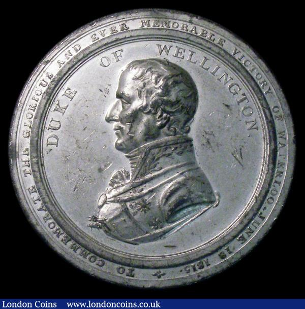 Duke of Wellington /G.L. Von Blucher, Prince of Wagstadt, 1815 Waterloo commemoration 53mm diameter in white metal Eimer 1072/1073var. EF with some contact marks : Medals : Auction 154 : Lot 666