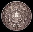 London Coins : A154 : Lot 806 : Guatemala Peso 1894 countermarked on a Peru Sol 1891 T.F KM#224 NVF