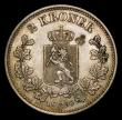 London Coins : A154 : Lot 881 : Norway 2 Kroner 1890 Good EF with a pleasing grey tone, a darker area of toning reverse hardly detra...