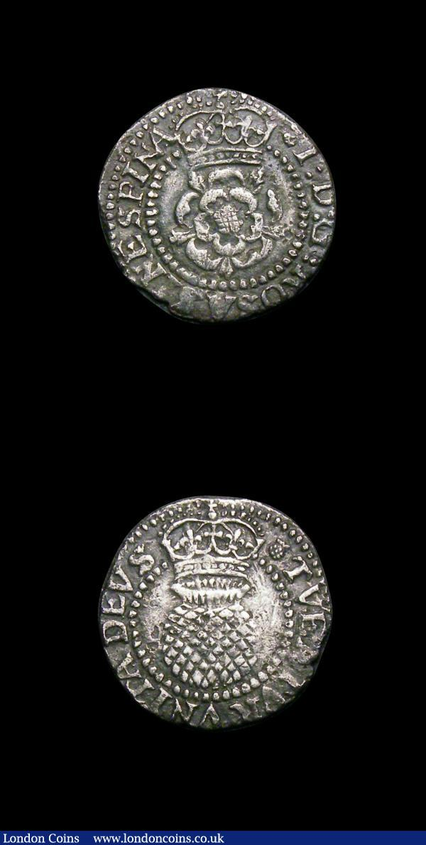 Scotland (2) Half Thistle Merk James VI 1603 S.5498 Good Fine with a crease mark, Two Shillings James VI S.5509 mintmark Thistle Good Fine and nicely toned : World Coins : Auction 154 : Lot 905