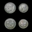 London Coins : A155 : Lot 1107 : Maundy Set 1847 ESC 2547 Fourpence and Twopence NEF to EF, the Threepence Fine, all with matching to...