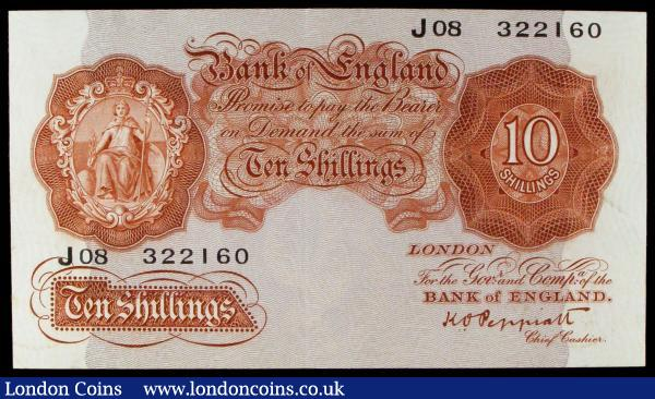 Ten shillings Peppiatt B235 issued 1934, first series J08 322160, Pick362c, pressed, looks  about EF : English Banknotes : Auction 155 : Lot 1706