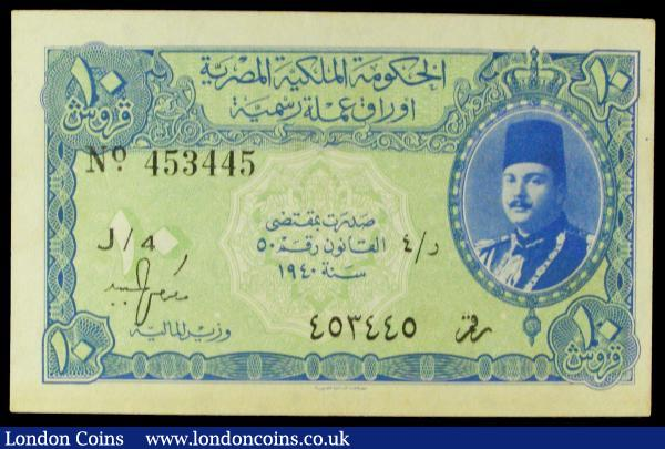 Egypt 10 Piastres 1940 Minister of Finance Pick 168a EF pressed  : World Banknotes : Auction 155 : Lot 1849