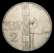 London Coins : A155 : Lot 2271 : Italy 2 Lire 1927R KM#63 GF/NVF with some rim nicks, Rare