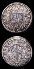 London Coins : A155 : Lot 2339 : Spain 2 Reales (2) 1721A KM#296 VF toned,  the planchet flattened at the edge between 8 and 10 o...