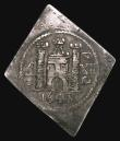 London Coins : A155 : Lot 526 : Shilling Charles I 1648 Pontefract besieged, lozenge-shaped with XII to right of castle, dividing PC...