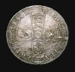 London Coins : A155 : Lot 559 : Crown 1686 SECVNDO No Stops on Obverse ESC 77 GVF and attractively toned with some haymarking, the r...