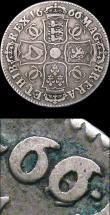 London Coins : A155 : Lot 581 : Halfcrown 1666 the 6 overstruck, probably over an 8 (see footnote in 1992 ESC regarding Harrington M...