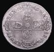 London Coins : A155 : Lot 590 : Halfcrown 1686 SECVNDO ESC 494 VF with a series of thin scratches visible under magnification, and s...