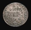 London Coins : A155 : Lot 645 : Shilling 1721 1 over 0 Roses and Plumes ESC 1172, Bull 1578 (9 strings to Harp) About EF/NEF, very r...
