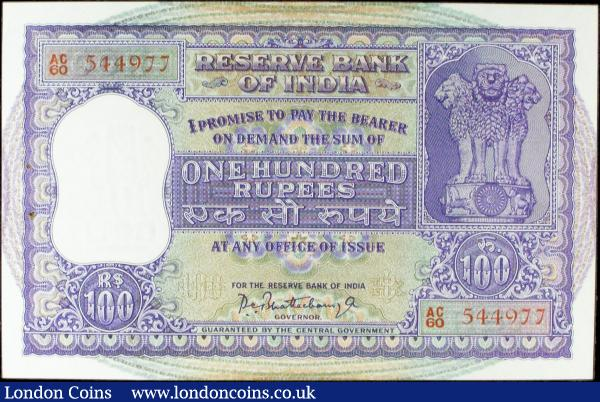 India 100 rupees issued 1962-67, series AC/60 544977, (usual 2 small staple holes at left), Pick45, almost UNC : World Banknotes : Auction 156 : Lot 169