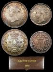 London Coins : A156 : Lot 2406 : Maundy Set 1848 ESC 2458 A/UNC to UNC and with a matching colourful tone, the Twopence with a couple...