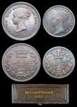 London Coins : A156 : Lot 2441 : Maundy Set 1883 ESC 2497 EF to UNC with a matching grey tone, the Fourpence, Twopence and Penny with...