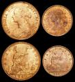 London Coins : A156 : Lot 2503 : Penny 1860 Toothed Border Freeman 10 dies 2+D UNC with around 75% lustre, Halfpenny 1860 Beaded Bord...