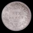 London Coins : A156 : Lot 2806 : Sixpence 1887 Young Head ESC 1750 Choice UNC and lustrous with a hint of colourful tone, slabbed and...