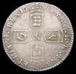London Coins : A156 : Lot 3544 : Sixpence 1696 First Bust, Early Harp, Large Crowns ESC 1533 EF/NEF toned with some die clashing behi...