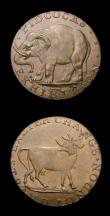 London Coins : A156 : Lot 781 : Halfpennies 18th Century Middlesex (2) Pidcock's undated Elephant/Two-headed cow DH423a GVF, th...