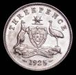 London Coins : A157 : Lot 1325 : Australia Threepence 1925 KM#24 A/UNC with a small tone spot on the reverse