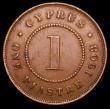 London Coins : A157 : Lot 1379 : Cyprus Piastre 1908 KM#12 NVF/VF, the obverse with a verdigris spot, scarce