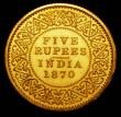 London Coins : A157 : Lot 1463 : India Five Rupees 1870 Milled Edge Gold Proof FDC in the original H.M.'s Mint, Calcutta envelop...