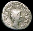London Coins : A157 : Lot 1784 : MarK Antony and Octavian.  Ar Denarius.  C, 41 BC.  Obv; Bare head of Antony right;M•ANT•I...