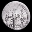 London Coins : A157 : Lot 1795 : Mark Antony.  Ar denarius.  C, 32-31 BC.  Obv;  ANT. AVG III VIR. R. P. C; praetorian galley to righ...