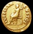 London Coins : A157 : Lot 1800 : Nero.  Au aureus.  C, 64-65 AD.  Rev;  IVPPITER CVSTOS; Jupiter seated l., holding sceptre and thund...