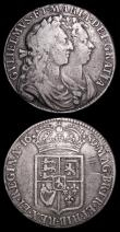London Coins : A157 : Lot 2514 : Halfcrowns (2) 1689 First Shield, Caul only frosted, with pearls, First V of GVLIELMVS over A (or in...