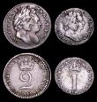 London Coins : A157 : Lot 2739 : Maundy Set 1691 ESC 2385 Fourpence Fine, Threepence Fine, Twopence VF, Penny (1 over 0) VF