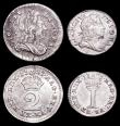 London Coins : A157 : Lot 2742 : Maundy Set 1727 ESC 2401 Fourpence EF, Threepence EF with some haymarking, Twopence GVF with a small...