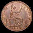 London Coins : A157 : Lot 2844 : Penny 1860 Toothed Border, Freeman dies 4+D, variant with central cut fishtail to the ribbon, as Gou...