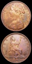 London Coins : A157 : Lot 2918 : Pennies (2) 1862 Freeman 39 dies 6+G UNC with around 25% lustre, 1861 Freeman 29 dies 6+D EF with lu...