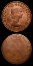 London Coins : A157 : Lot 772 : Mint Error - Mis-Strikes (2) Obverse Brockage Halfpenny Elizabeth II, Obverse 3, NEF, 1966 struck of...