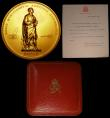 London Coins : A157 : Lot 847 : A Royal Society George VI medal 1945 by Royal Mint, 73mm diameter in  carat gold and weighing 298.18...