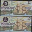 London Coins : A157 : Lot 90 : Australia $10 (2) Commemorative issue 1988, a consecutively numbered pair series AB, polymer plastic...