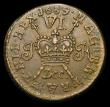 London Coins : A158 : Lot 1203 : Ireland Sixpence Gunmoney 1689 Dec. S.6583I About EF evenly struck and pleasing, comes with old coll...