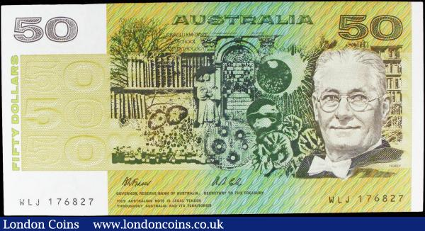 Australia 50 Dollars issued 1991 series WLJ 176827, Pick47h, signed Fraser & Cole, good EF to about Uncirculated : World Banknotes : Auction 158 : Lot 138