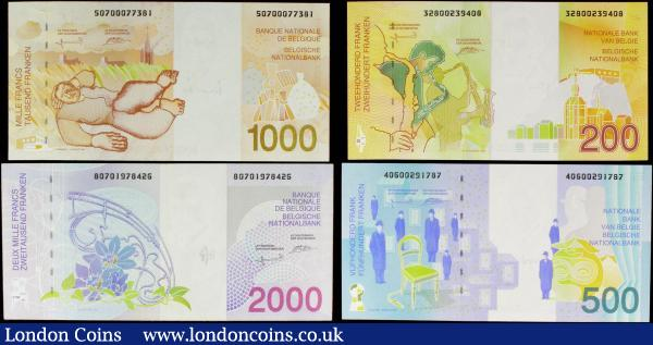 Belgium National Bank (4) 200 Francs issued 1995 Pick148, 500 Francs issued 1998 Pick149, 1000 Francs issued 1997 Pick150 & 2000 Francs issued 1994 Pick151, the 2000 francs is a good EF, the other 3 notes Uncirculated : World Banknotes : Auction 158 : Lot 156